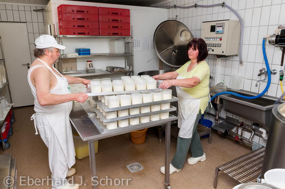 Die Biobauern Erika und Hans Klischewski heben große Bleche mit Käseformen auf einen Rollwagen