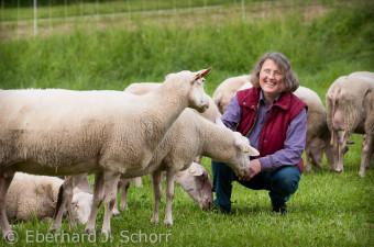 Die Schäferin Erika Ertel in Mitten ihrer Schafherde