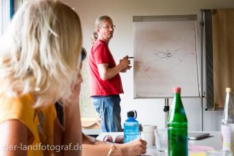 Der BioBauer Dr. Wilhelm Schädel erklärt an der Tafel die notwendige Theorie