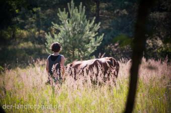 Eine Teilnehmerin treibt eine Kuh von der Herde weg
