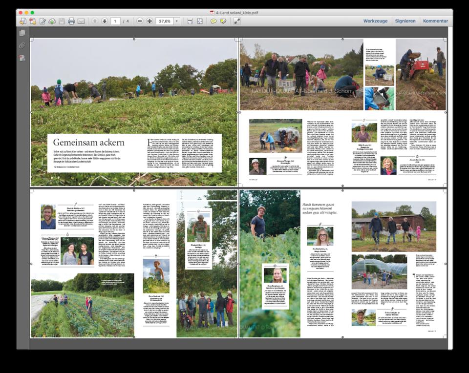 Doppelseite eines Artikels zum Thema Solidarische Landwirtschaft im Magazin Aufsland