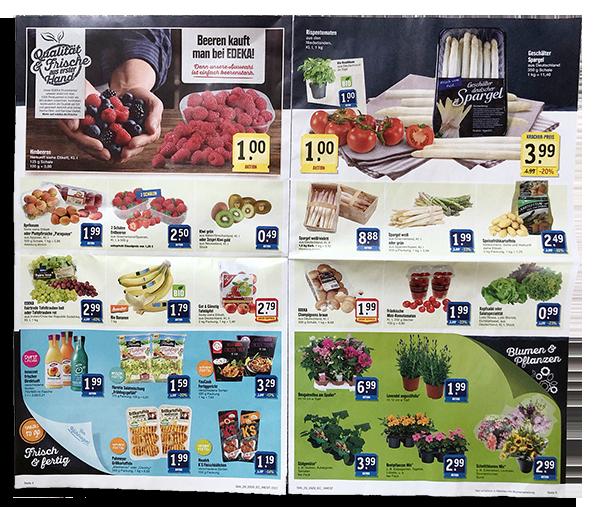Innenseiten eines Supermarktprospekts