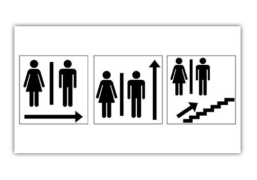 Icons Leitsystem zu den Toiletten
